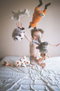 jumping on the bed and throwing stuffed animals - kids