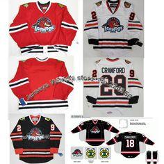 48ba41c7e Aliexpress.com   Buy custom 29  Corey Crawford Jersey AHL ICE Hockey  Rockford IceHogs Jerseys Game Worn Black white chicago blackhawk jerseys  from Reliable ...