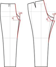 Занижение брюк по линии сидения