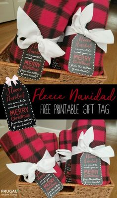 Free Printable Fleece Navidad Gift Tag - pair with an adorable fleece blanket. This makes an adorable Christmas teacher gift idea. We have also gifted to our neighbors, Sunday school teachers, and more!   Frugal Coupon Living. #christmas #christmasgifts #