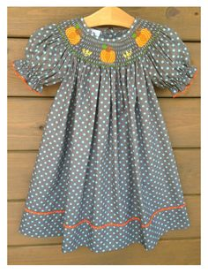 Pumpkin Smocked Bishop Dress ~ Charcoal Grey With Baby Blue Polka Dots by SouthernSmockedSprou on Etsy https://www.etsy.com/listing/199303269/pumpkin-smocked-bishop-dress-charcoal