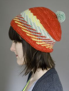 Ravelry: Zam Hat pattern by Alexandra Tinsley -- a hat this cut could inspire me to learn to knit!