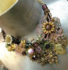Bohemian Bib Necklace of Flowers in my Garden by FernStreetDesigns on Etsy