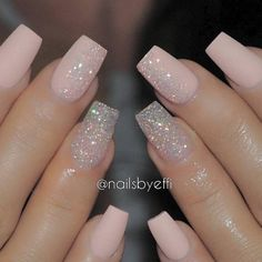 A manicure is a cosmetic elegance therapy for the finger nails and hands. A manicure could deal with just the hands, just the nails, or Pink Glitter Nails, Cute Acrylic Nails, Fancy Nails, Acrylic Nail Designs, Cute Nails, Pretty Nails, My Nails, Blush Pink Nails, Pale Pink Nails