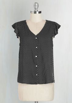 Door to Adorable Top in Black. Put the can-do attitude in canvassing while wearing this polka-dotted top! #black #modcloth