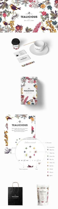 Tealicious merchandise and take-out supplies are framed around a luscious botanical garden.: