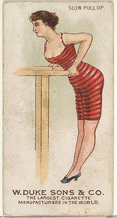 Slow Pull Up, from the Gymnastic Exercises series (N77) for Duke brand cigarettes.