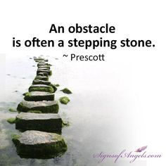 An obstacle is often a stepping stone. ~ Prescott