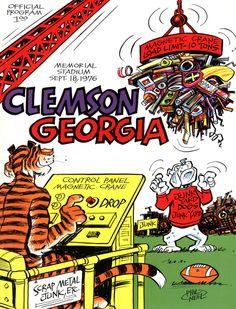 1976 Clemson Tigers vs Georgia Bulldogs 22 x 30 Canvas Historic Football Poster