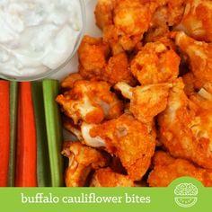 Buffalo Cauliflower Bites | Delish, protein & fiber-rich and just 113 calories! @Velvet Darnell Recipes