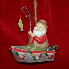 Santa's Out Fishing Personalized Christmas Ornament