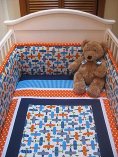 This fun and bright airplane crib set will make a delightful nursery for your baby boy! There are so many great colors to use as accent colors.