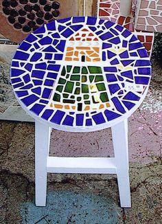 Mosaic lighthouse stool by Ziggy