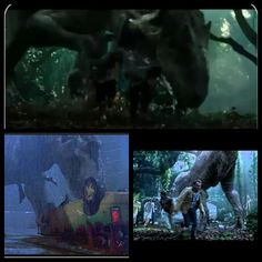 Jurassic World- Indominus Rex attacking Gyrosphere compared with T-Rex attack scene from Jurassic Park and Spinosaurus attack scene from Jurassic Park 3