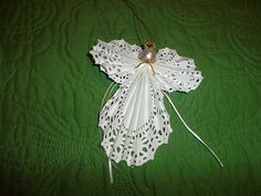 Lacy Paper Doily Angel Ornament by MyAngelsandMore on Etsy