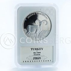 Turkey 20 lir Wildlife Anatolian Wild Sheep silver proof coin 2005