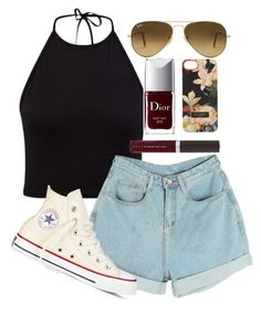 """""""Almost Friday"""" by marn28 ❤ liked on Polyvore featuring Converse, Ray-Ban, Ted Baker, Christian Dior and Becca"""