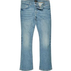 River Island Mid blue wash Clint bootcut jeans ($90) ❤ liked on Polyvore featuring men's fashion, men's clothing, men's jeans, jeans, mens bootcut jeans, mens denim jeans, tall mens jeans, mens button fly jeans and mens slim fit bootcut jeans