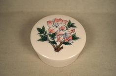 UCGC Round Ceramic Floral Trinket Jewelry, Powder Jar, Box