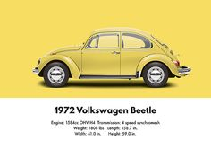 [ 1972 Volkswagen Beetle - Saturn Yellow Digital Art by Ed Jackson ] Vw Bus, Vw Camper, Volkswagen Golf, Yellow Car, Mellow Yellow, 3008 Peugeot, Peugeot 206, Vw Super Beetle, Kdf Wagen