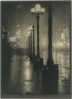 "Alvin Langdon Coburn (British, 1882–1966). Broadway at Night, ca. 1910. The Metropolitan Museum of Art, New York. The Elisha Whittelsey Collection, The Elisha Whittelsey Fund, 1972 (1972.603.3) | Coburn was mesmerized by the electrified arc lamps of Midtown Manhattan. ""It is only at twilight,"" he wrote in 1911, ""that the city reveals itself to me in the fulness [sic] of its beauty..."" #newyork #nyc"