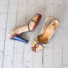 1940s shoes  / 40s platform heels / Primary Colors by DearGolden, $224.00