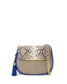 V364Y Betsey Johnson Grace Leather Snake-Embossed Saddle Bag, Taupe