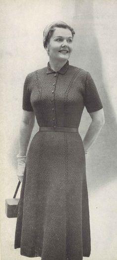 Classic Shirtdress • 1950s Plus Size Short Sleeve Knit Dress Patterns • 50s Vintage Knitting Pattern • Retro Women's Digital PDF by TheStarShop on Etsy