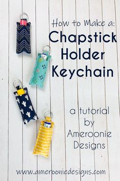 How to Make a Chapstick Holder Keychain with Riley Blake Designs Fabric. Simple tutorial using split ring and fabric scraps. How to Make a Chapstick Holder Keychain with Riley Blake Designs Fabric. Simple tutorial using split ring and fabric scraps. Small Sewing Projects, Sewing Projects For Beginners, Sewing Hacks, Sewing Tutorials, Sewing Crafts, Sewing Tips, Scrap Fabric Projects, Dyi Projects For Kids, Crafts With Fabric