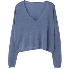 V-Neckline Sweater (£13) ❤ liked on Polyvore featuring tops, sweaters, shirts, blue, blue sweater, cable knit sweater, blue shirt, chunky cable knit sweater and blue v neck sweater