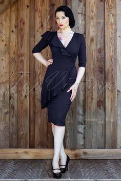Collectif Clothing - 50s Rita Pencil Dress Navy