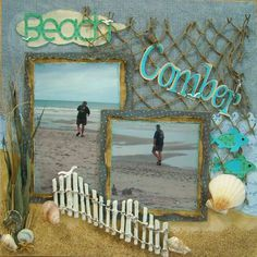 scrapbook layout Beach scrapbook layout Snowflakes layout - 2 small photos with one large photo with a title & subtitle Beach Scrapbook Layouts, Vacation Scrapbook, Scrapbook Sketches, Scrapbook Paper Crafts, Scrapbooking Layouts, Scrapbook Cards, Digital Scrapbooking, Scrapbook Photos, Scrapbook Designs