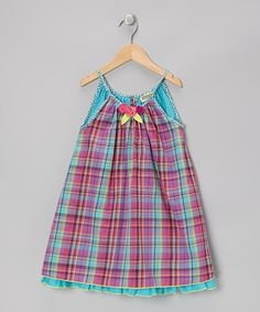 Take a look at this Blue & Pink Plaid Rosette Dress - Infant, Toddler & Girls by Sophie Catalou on #zulily today!