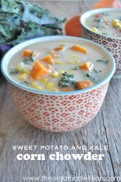 Sweet Potato and Kale Corn Chowder. Homemade chicken or vegetable stock. Vegan, dairy free, gluten free, real food. www.theorganicdietitian.com