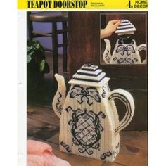 """The """"Teapot Doorstop"""" plastic canvas pattern is from the 1995 Annie's…"""
