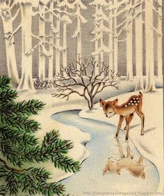 Vintage winter scene, the most classic Christmas card! Hahahaha!