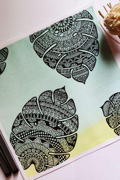 Mandala Art Therapy, Mandala Art Lesson, Mandala Artwork, Doodle Art Drawing, Mandala Drawing, Leaf Drawing, Mandala Sketch, Zentangle Drawings, Doodles Zentangles