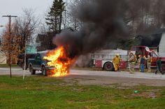 Truck fire on Revillon Road in Moosonee 2011 November Present Day, Ontario, Vintage Photos, November, Truck, Fire, Vehicles, Travel, November Born