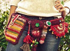 Boho Belt Pockets, Festival utility belt, Adjustable Pixie belt, Handmade Crochet hips wrap, Hippie Gypsy Bohemian style
