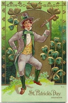 free-vintage-st-patricks-greeting-card-lad-dancing-with-shamrocks.jpg (258×391)