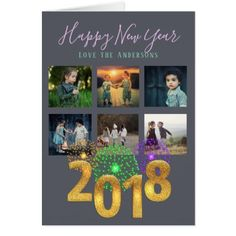 2018 NEW YEAR Photo Collage Instagram Card - new years day celebrate party holiday