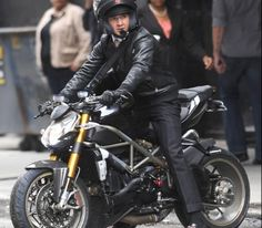 Money Never Sleeps.  And neither does the Ducati Streetfighter S, seen here with Shia LaBeouf.