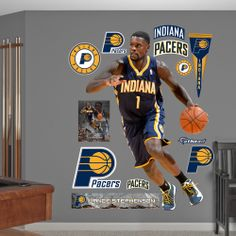NBA Indiana Pacers from Fathead make a bold statement that cheap alternatives cannot compare to. Lance Stephenson, Indiana Pacers, Wall Decals, Nba, Basketball, Comic Books, Comics, Cover, Sports