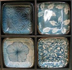 "wasbella102:  "" Japanese Dishes - Blue Garden Dish Set  """