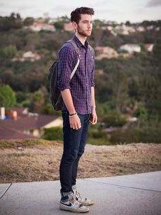 American Apparel Shirt, Wings + Horns Jeans, Nike Shoes - STARING OUT AT MY HATERS - Edward Honaker