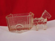 Vintage Clear Glass Horse Drawn Two-Wheel by thesecretcupboard