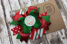 Christmas Hair Bow You Better Not Pout 5 inch Boutique Hair Bow