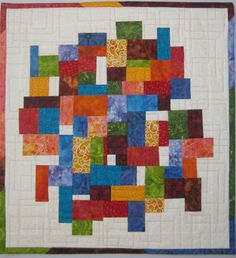 Art Quilt Multi Mosaic with White by ArtQuiltsBySharon on Etsy https://www.etsy.com/listing/216593949/art-quilt-multi-mosaic-with-white