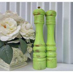 New Years Resolution Shabby Chic Salt and Pepper Mill Tall Lime Green... ($38) ❤ liked on Polyvore featuring home, kitchen & dining, serveware, dining & serving, grey, home & living, salt & pepper shakers, wood pepper mill, wooden salt and pepper mills and salt pepper grinder