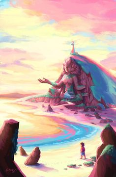11 x 17 inches. Gloss printed on 12 pt paper. Steven watching the sunrise on the beach by the Crystal Gems Temple. Steven Universe Wallpaper, Steven Universe Movie, Universe Art, Steven Universe Stevonnie, Steven Universe Background, Fan Art, Strand, Sunrise, Art Prints